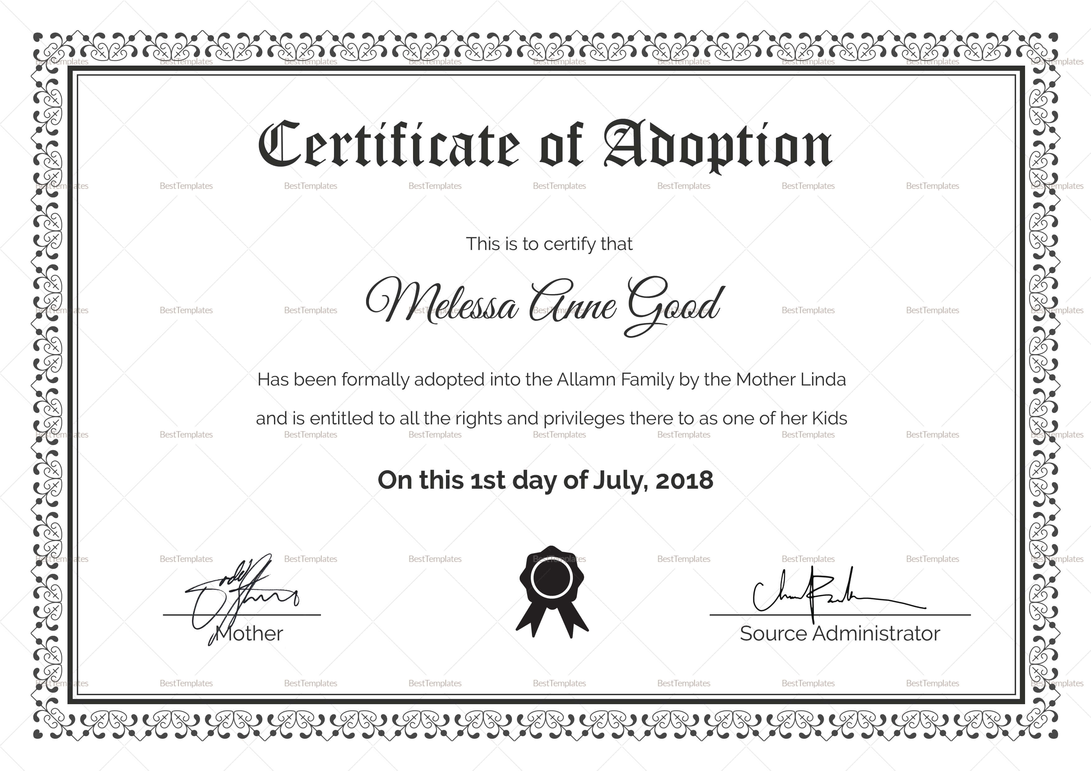 Adoption Certificate Design Template for Blank Adoption Certificate Template