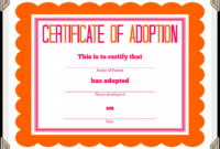 Adoption Certificate Template – Certificate Templates Inside Blank Adoption Certificate Template