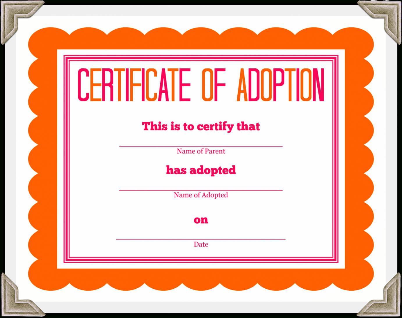 Adoption Certificate Template – Certificate Templates inside Blank Adoption Certificate Template
