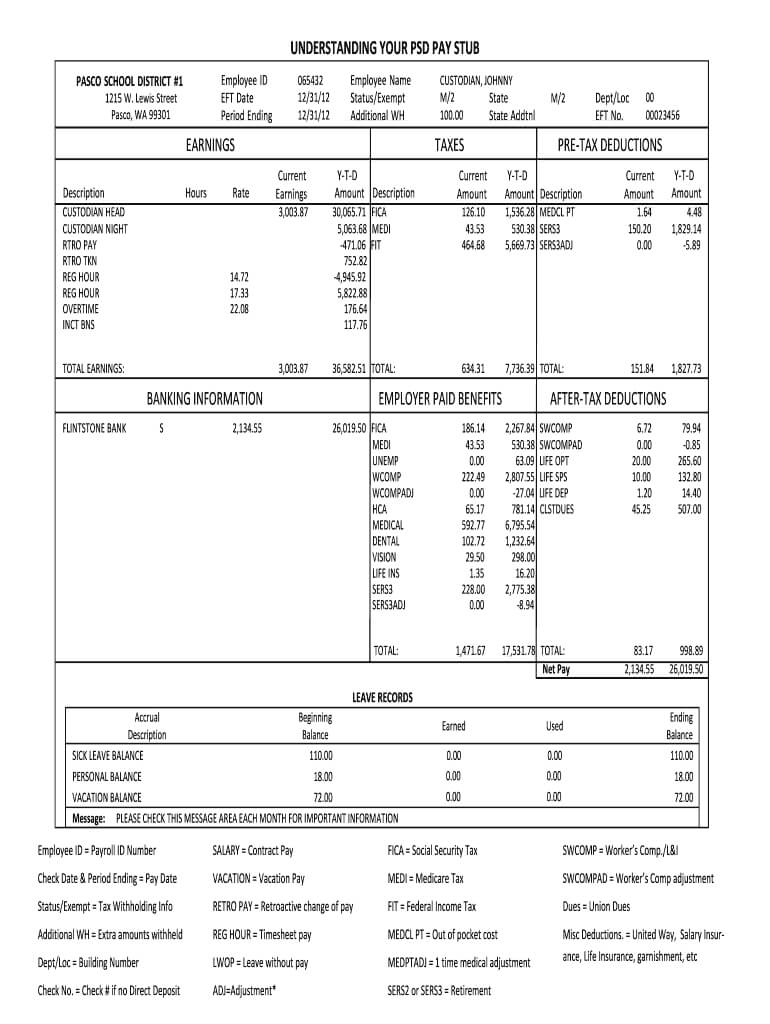 Adp Pay Stub Template - Fill Online, Printable, Fillable in Pay Stub Template Word Document