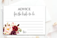 Advice Card Printable Wedding Advice Cards Editable Text Floral Thank You  Advice Card Template Diy Advice For The Bride To Be Pdf Boho Chic for Marriage Advice Cards Templates