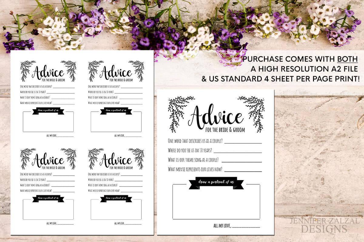 Advice Card Template. Advice For The Newlyweds. Marriage Inside Marriage Advice Cards Templates