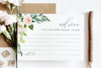 Advice Card Template, Wedding Well Wishes For Bride And inside Marriage Advice Cards Templates