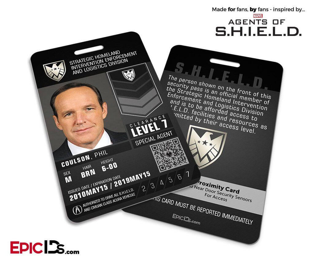 Agents Of Shield Inspired 'real' Shield Agent Id - Phil regarding Shield Id Card Template