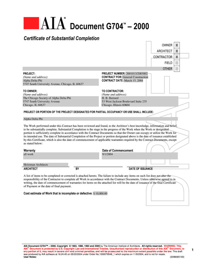 Aia G704 - Fill Online, Printable, Fillable, Blank | Pdffiller intended for Certificate Of Substantial Completion Template