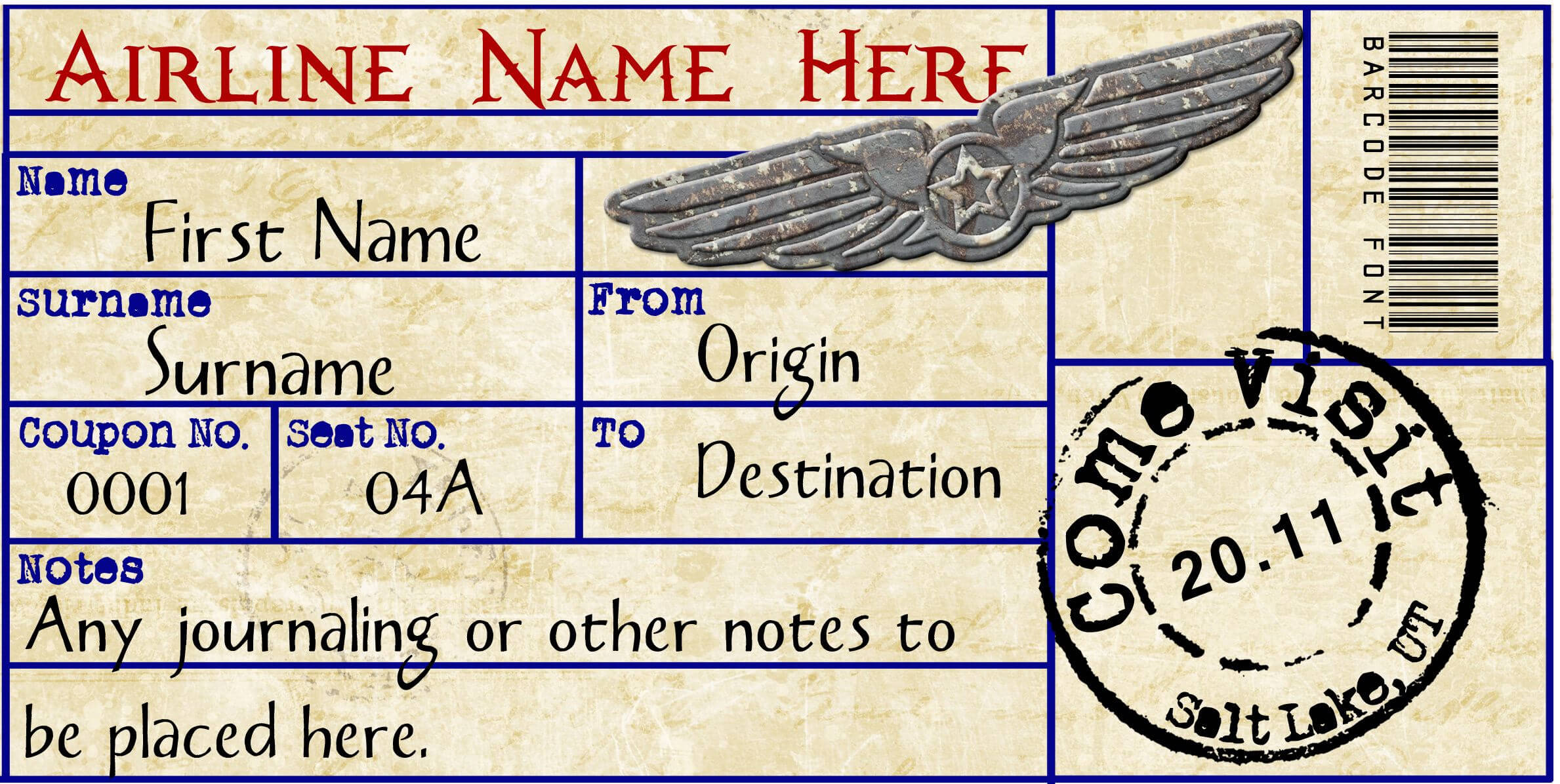 Airplane Ticket | Ticket Template, Gift Certificate Template with Plane Ticket Template Word