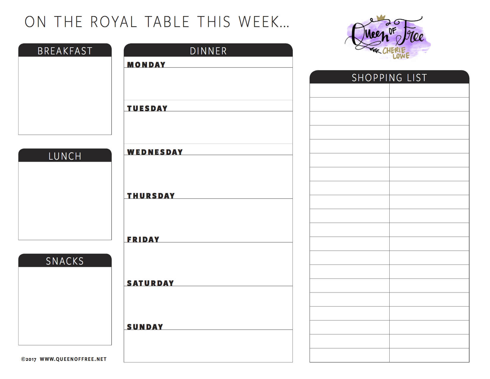 All New: Free Printable Meal Planner You Can Edit - Queen Of throughout Blank Meal Plan Template