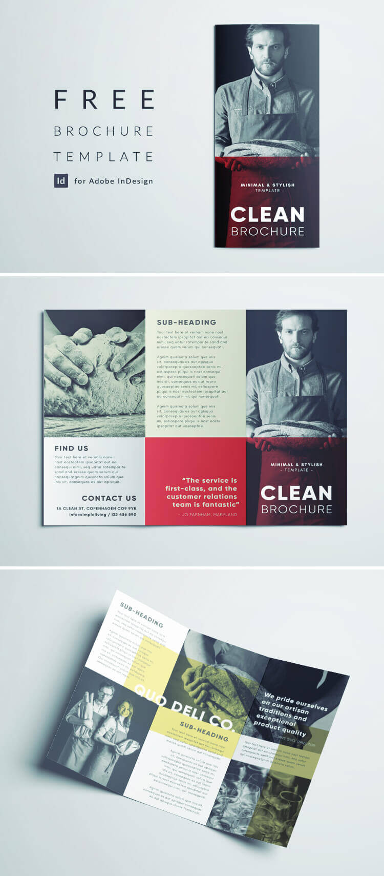 Amazing Clean Trifold Brochure Template | Free Download Regarding Cleaning Brochure Templates Free