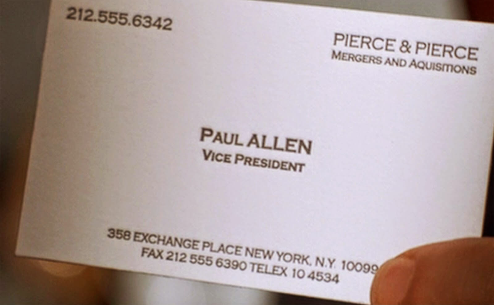American Psycho - Was The Typo In Paul Allen's Busines Card inside Paul Allen Business Card Template