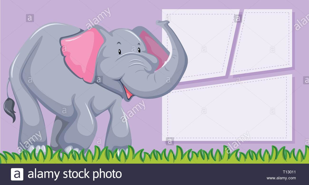 An Elephant On Blank Template Illustration Stock Vector Art throughout Blank Elephant Template