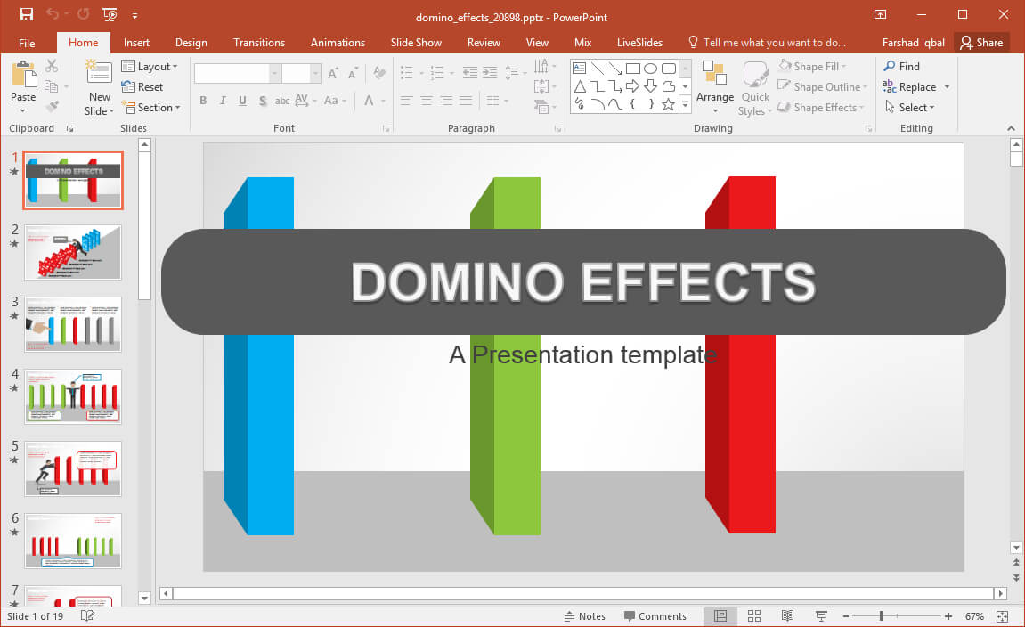 Animated Domino Effects Powerpoint Template - Fppt throughout Powerpoint Replace Template