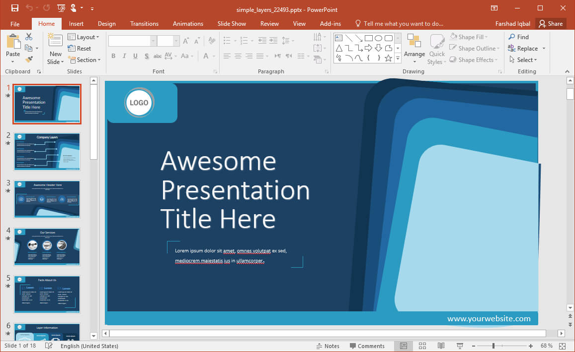 Animated Simple Layers Powerpoint Template in Powerpoint Default Template