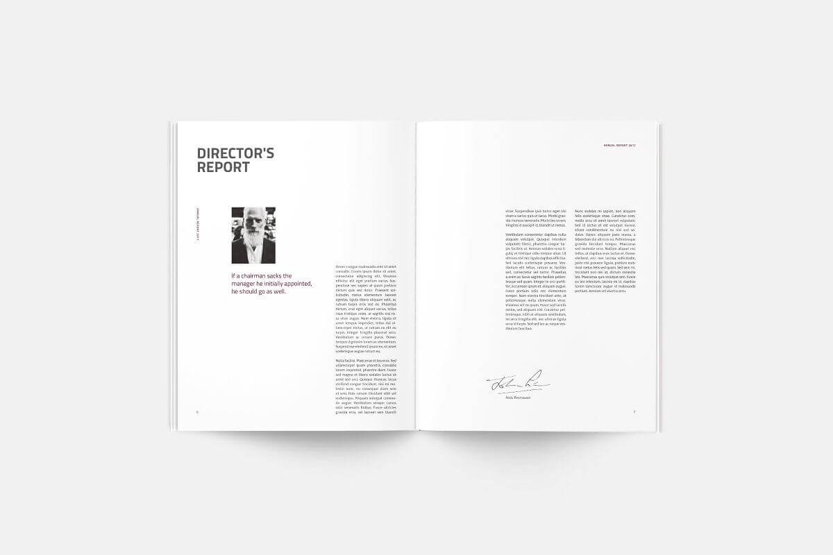 Annual Report | Silukeight | Corporate Fonts, Brochure for Chairman's Annual Report Template