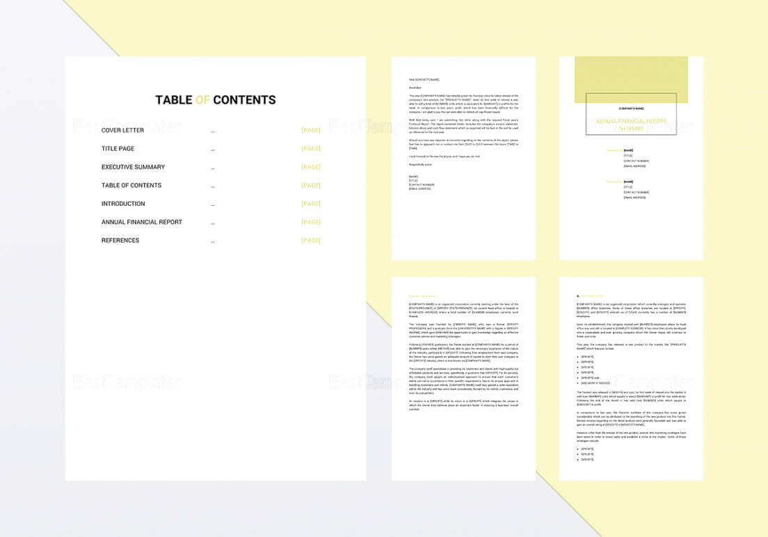 Annual Report Template In Word Google Docs Apple Pages with regard to Annual Financial Report Template Word
