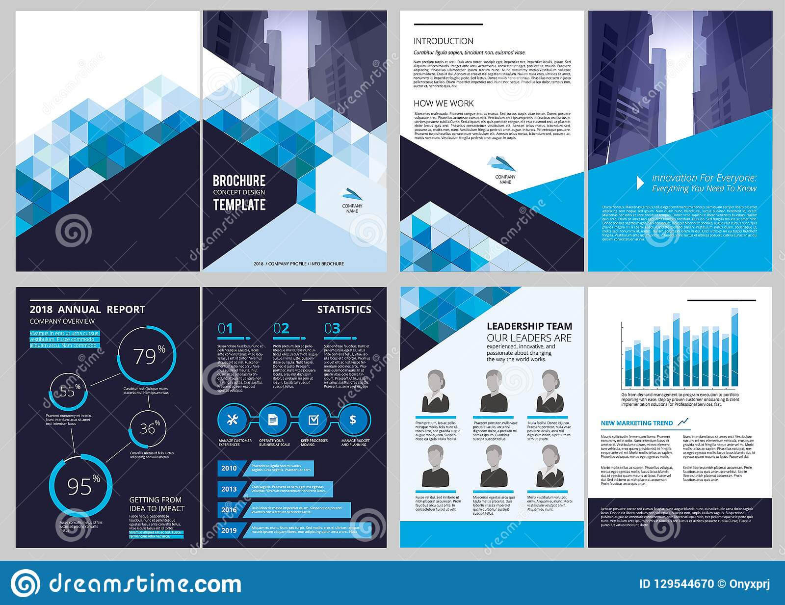 Annual Report Template. Simple Document Financial Magazine in Illustrator Report Templates