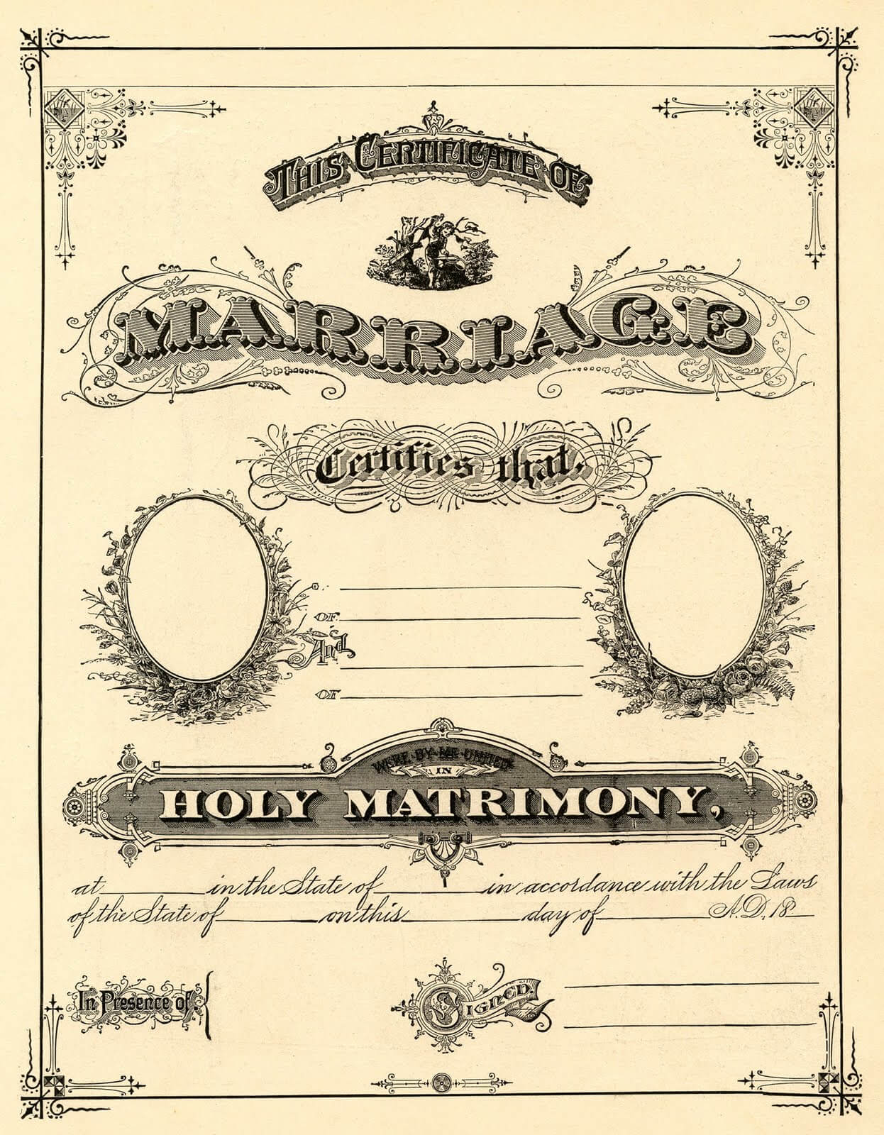 Antique Ephemera Clip Art – Printable Marriage Certificate Intended For Blank Marriage Certificate Template