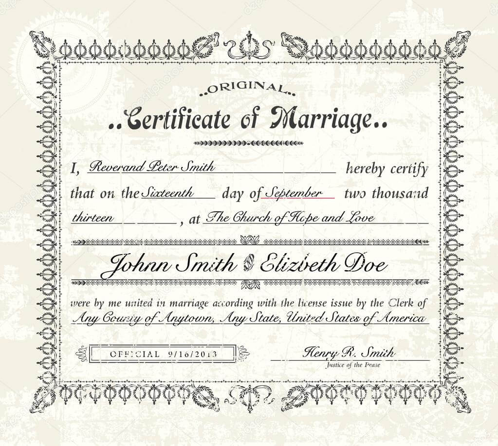 Antique Marriage Certificate Template   Vector Vintage intended for Certificate Of Marriage Template