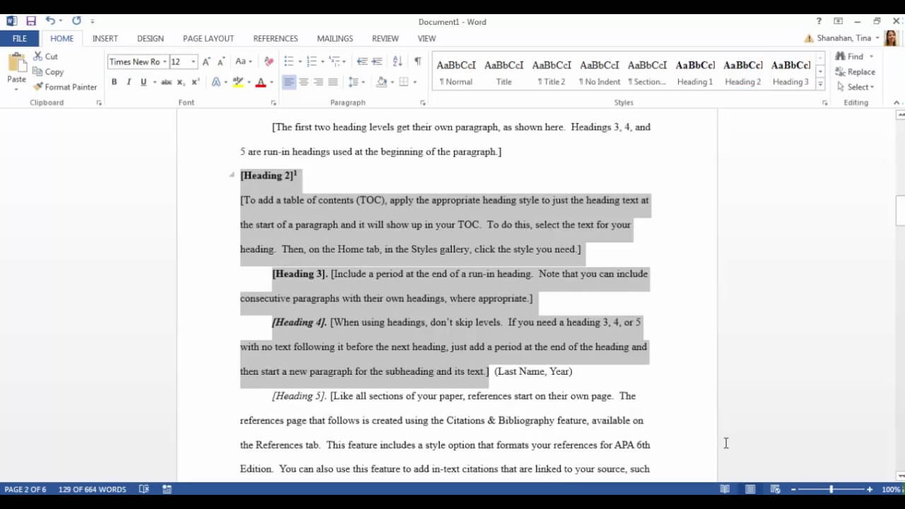 Apa Template In Microsoft Word 2016 Regarding Apa Format Template Word 2013