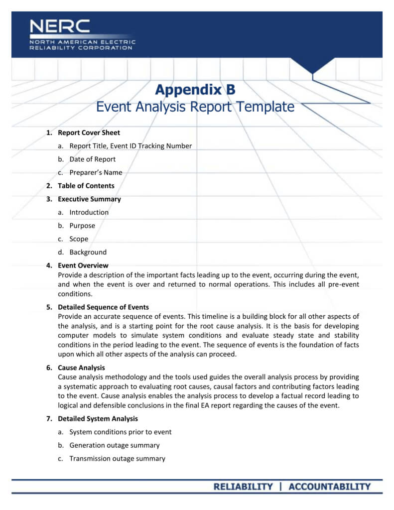 Appendix B - Event Analysis Report Template For Reliability Report Template