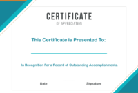 Appreciation Certificate Templates For Word throughout Certificate Of Excellence Template Word