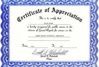 Appreciation Certificate Templates Free Download with regard to Free Certificate Of Appreciation Template Downloads