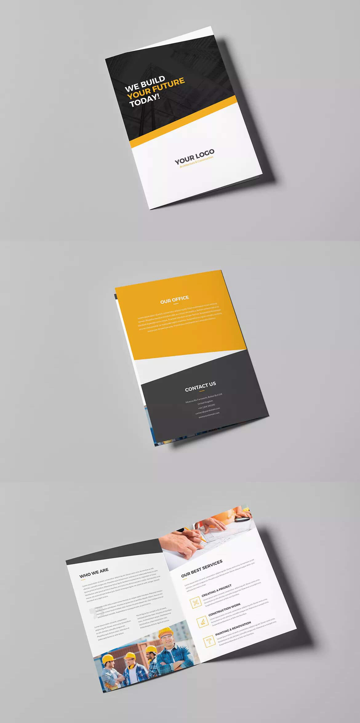 Architecture And Construction Bi-Fold Brochure Template Psd throughout Letter Size Brochure Template