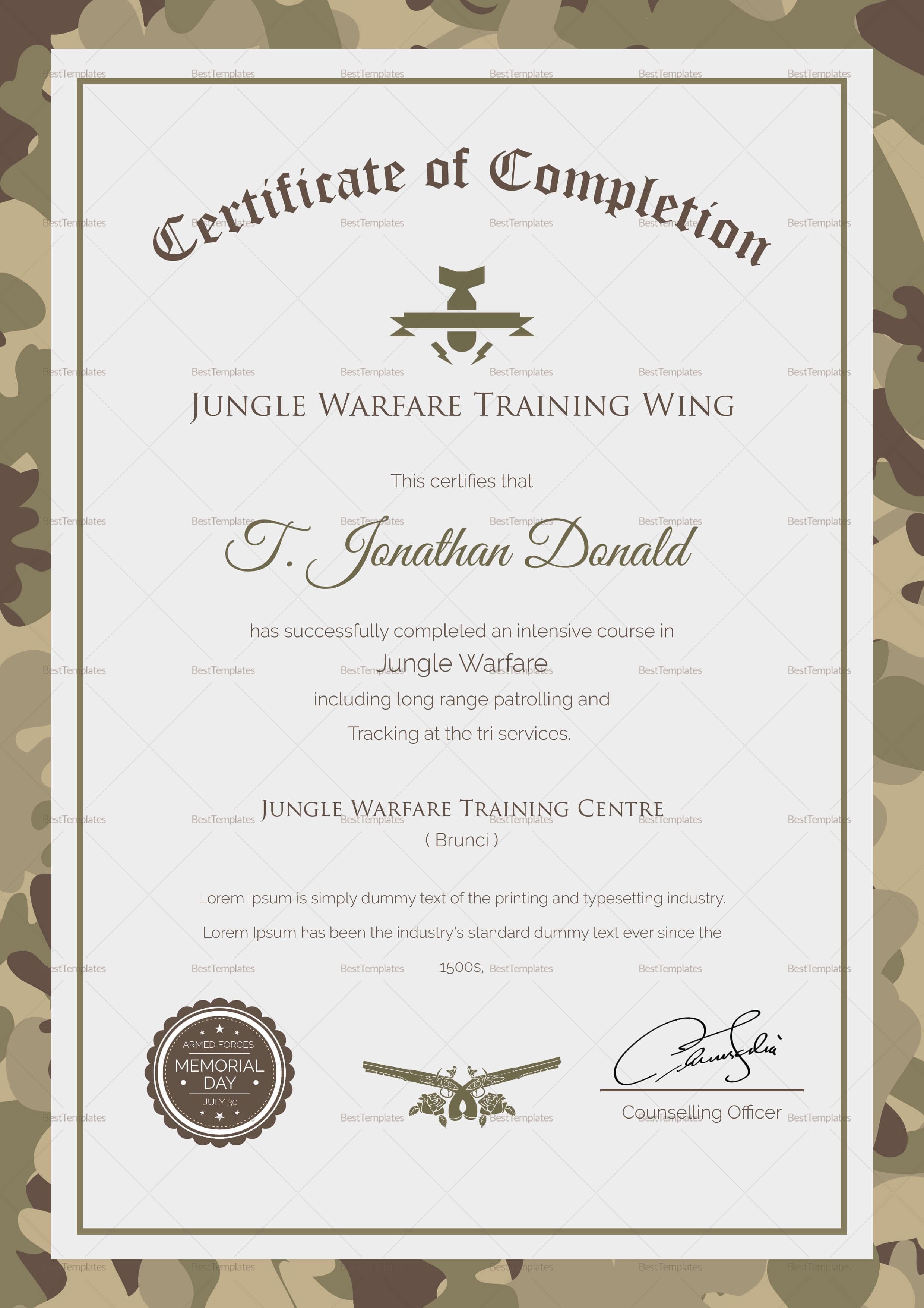 Army Camo Training Completion Certificate Template Regarding Army Certificate Of Completion Template