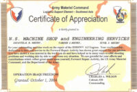 Army Certificate Of Appreciation – Climatejourney For Army Certificate Of Completion Template