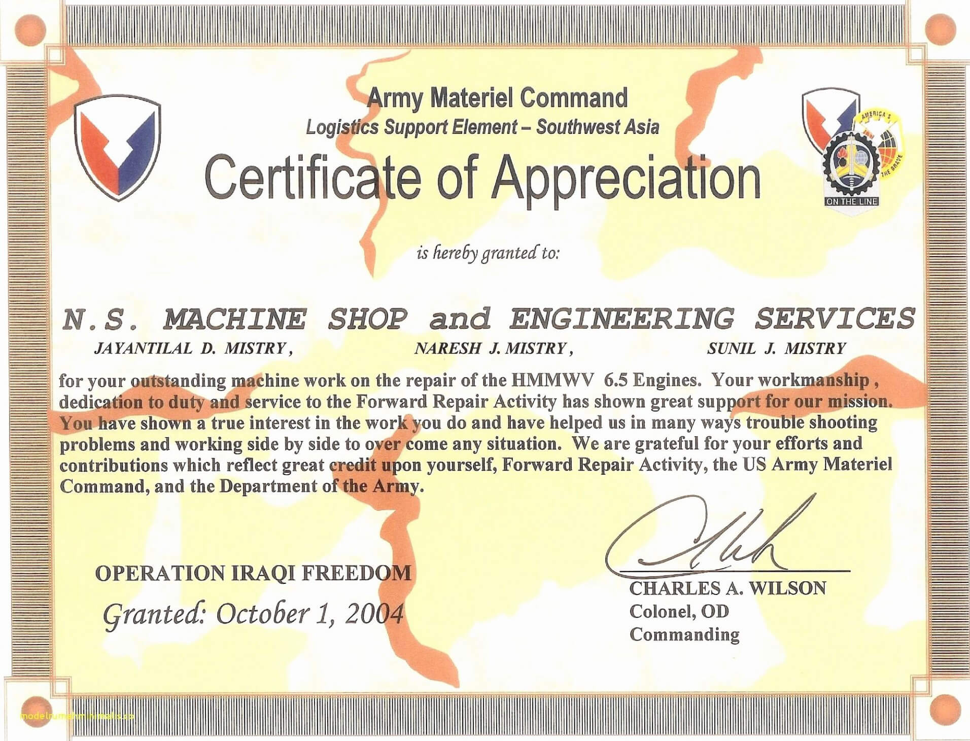 Army Certificate Of Appreciation – Climatejourney For Army Certificate Of Completion Template