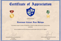Army Certificate Of Appreciation Template pertaining to Army Certificate Of Achievement Template