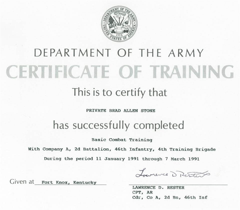 Army Certificate Of Training Template   Doyadoyasamos within Army Certificate Of Completion Template