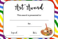 Art Award Certificate (Free Printable) | Art | Art Classroom inside Classroom Certificates Templates