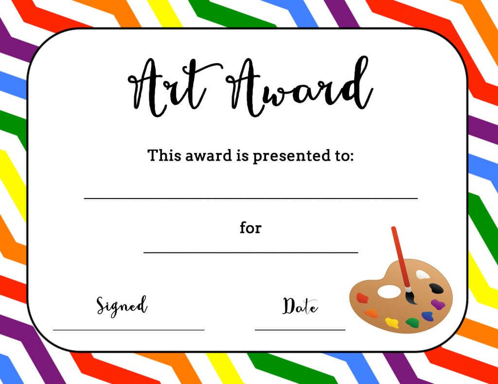Art Award Certificate (Free Printable) | Art Classroom within Free Printable Student Of The Month Certificate Templates