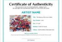 Artwork Bill Of Sale And Letter Of Authenticity In 2019 for Certificate Of Authenticity Photography Template