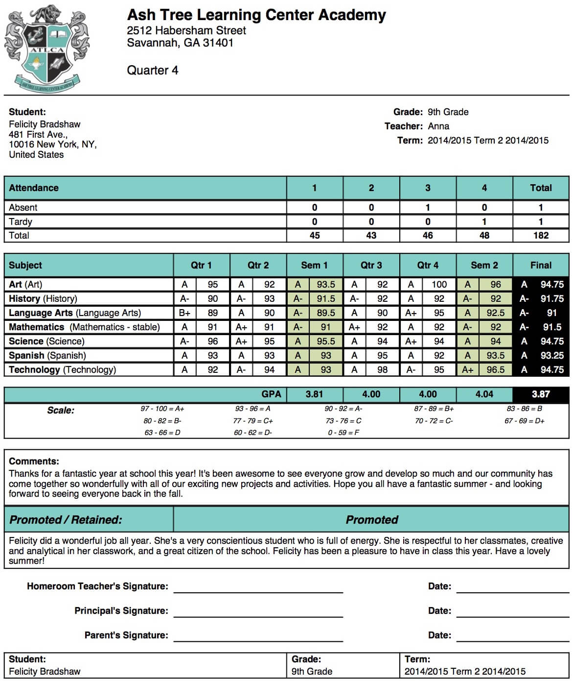 Ash Tree Learning Center Academy Report Card Template Pertaining To Middle School Report Card Template