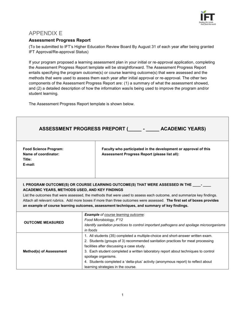 Assessment Progress Report & Rubric Evaluation with regard to Evaluation Summary Report Template