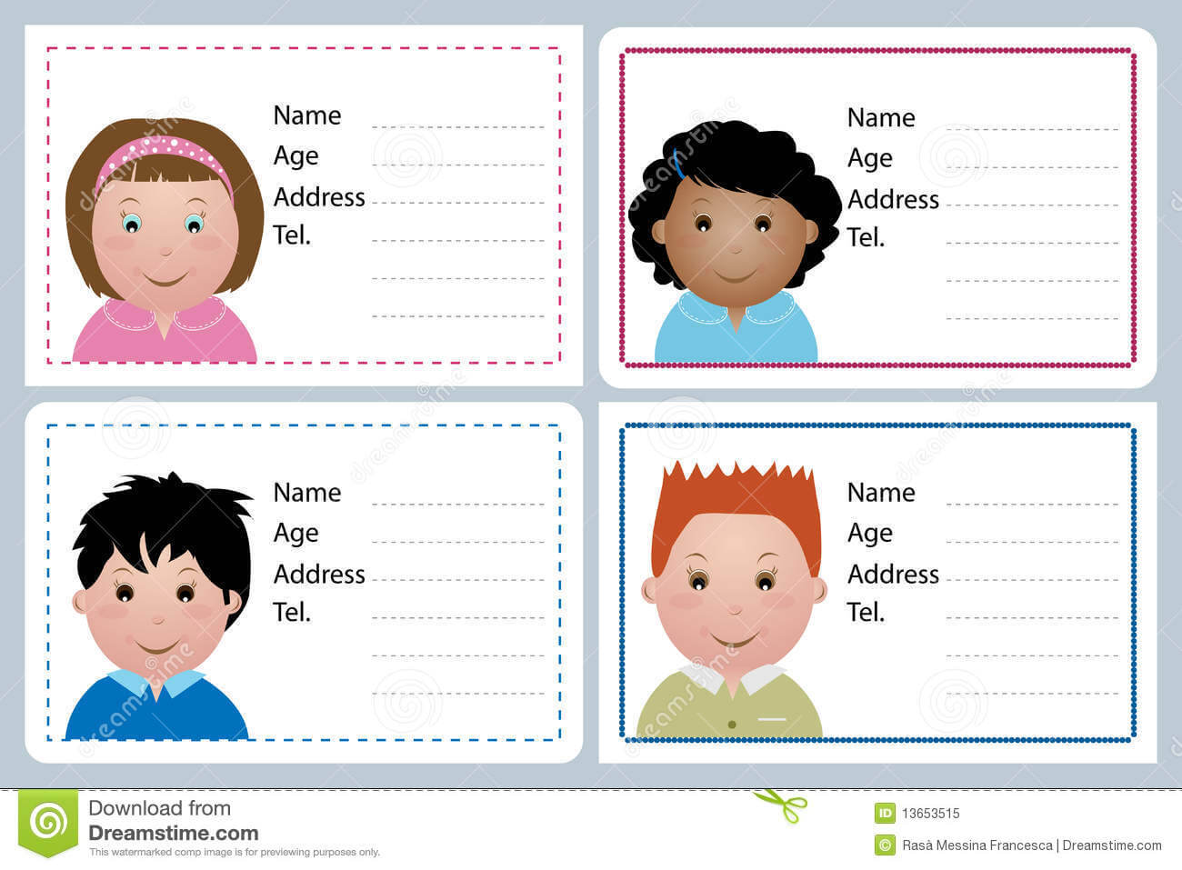 Astounding Child Id Card Template Free Ideas Printable Pertaining To Id Card Template For Kids