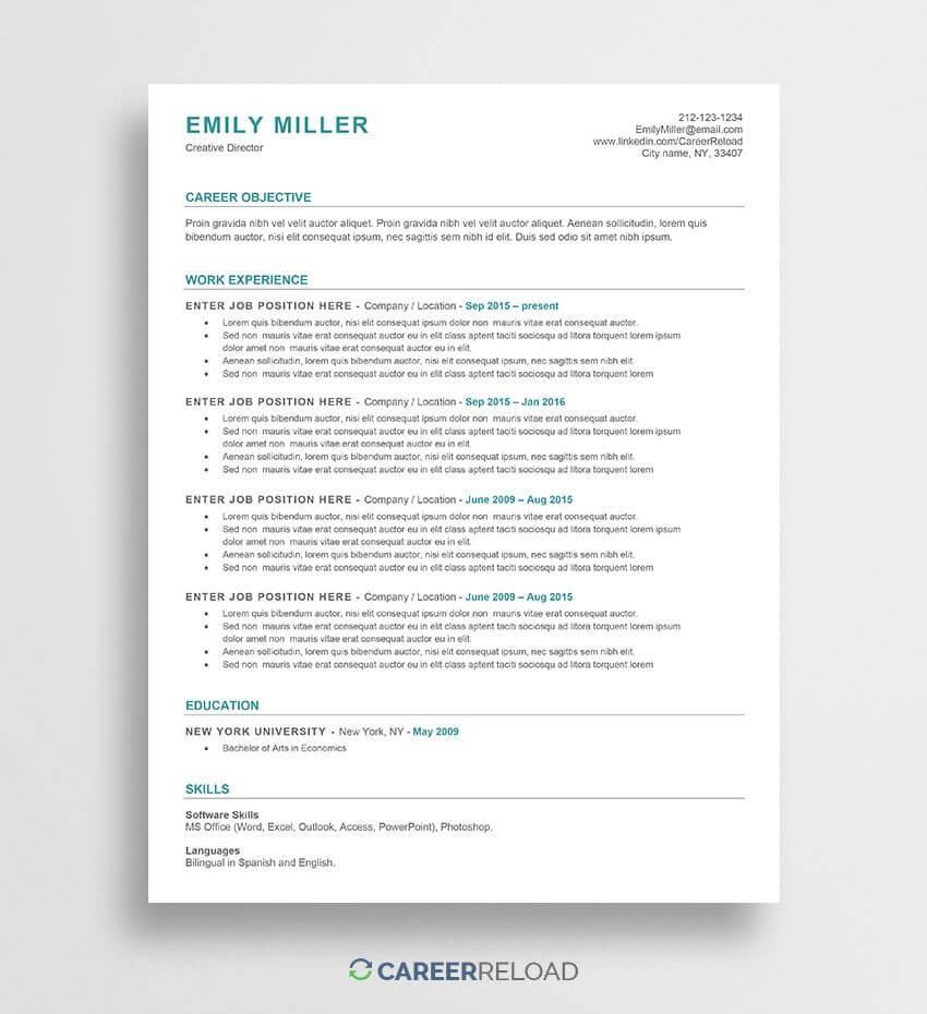 Ats-Friendly Resume Template | Microsoft Resume Templates in Free Printable Resume Templates Microsoft Word