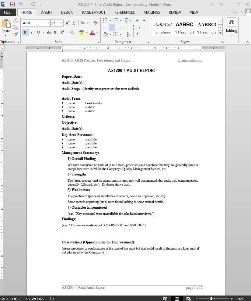 Audit Report As9100 Template | As1200 4 For Template For Audit Report
