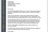 Australian Research Council's Administration Of The National within Acquittal Report Template