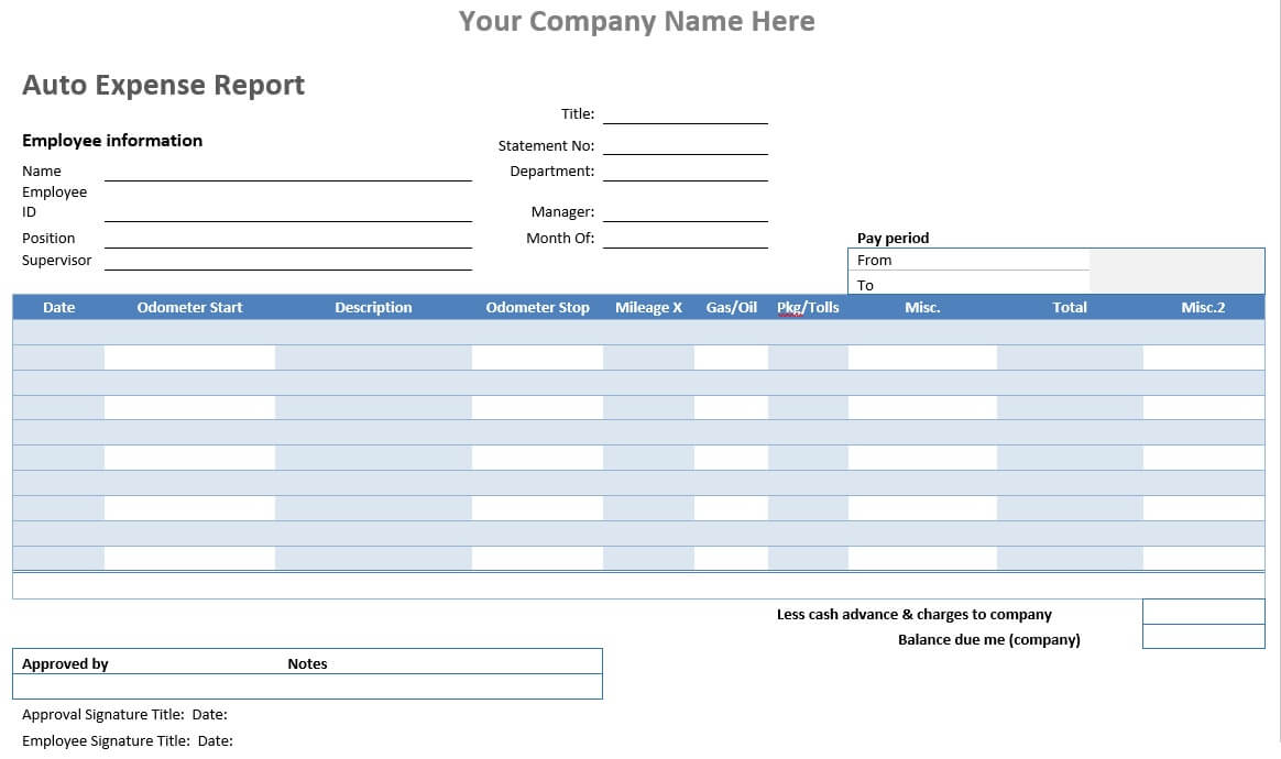 Auto Expense Report – Word Template – Word Templates For Inside Microsoft Word Expense Report Template