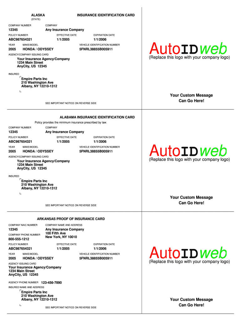 Auto Insurance Card Template - Fill Online, Printable pertaining to Proof Of Insurance Card Template