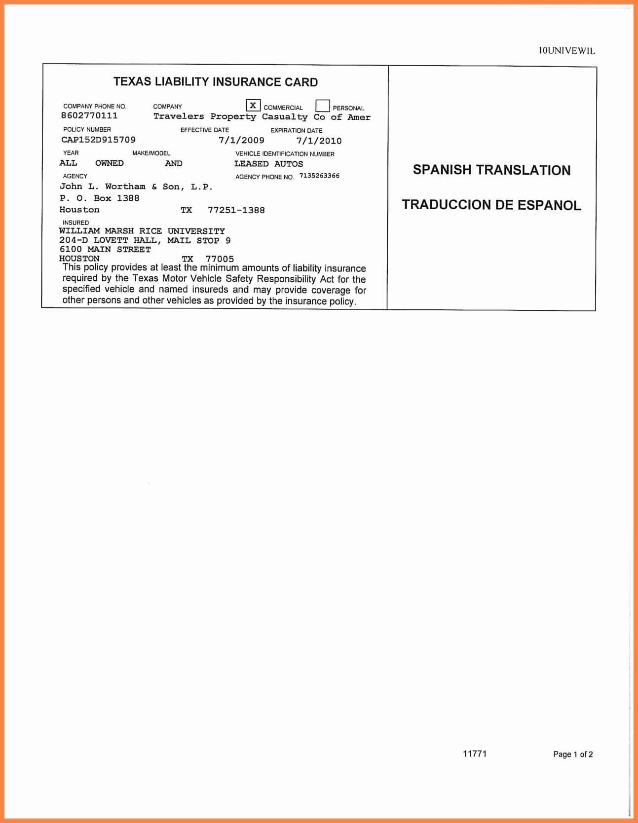 Auto Insurance Card Template Free Download #2 In 2019 | Id For Proof Of Insurance Card Template