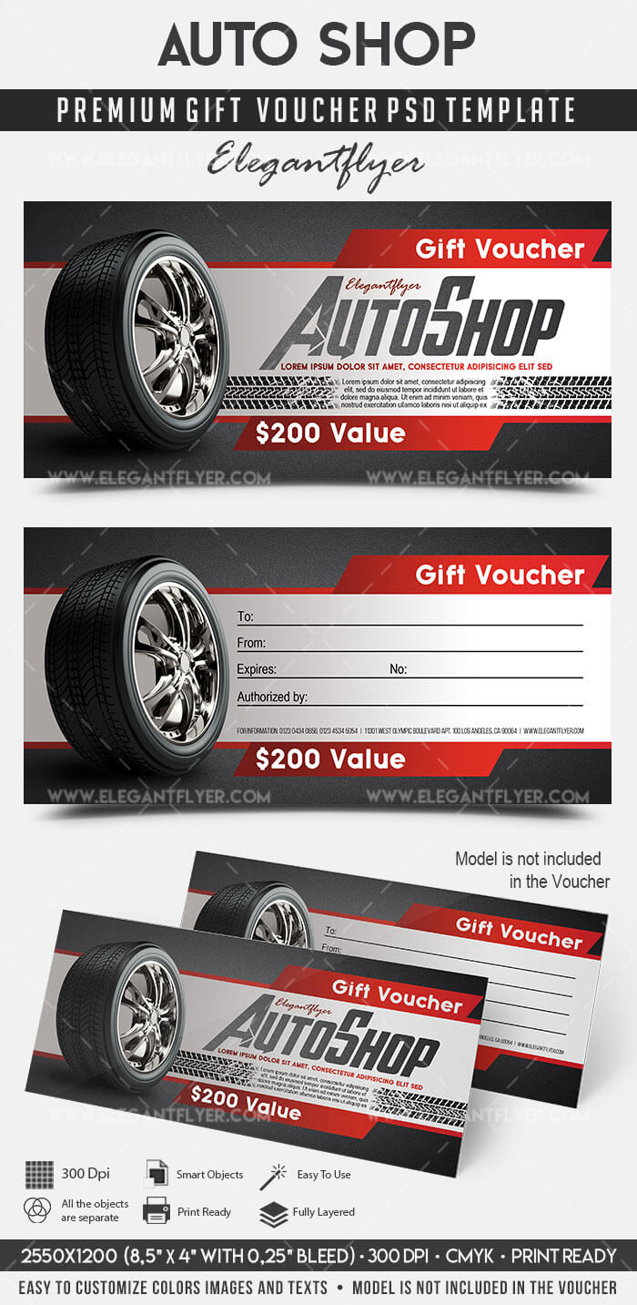 Auto Shop – Premium Gift Certificate Psd Template Pertaining To Automotive Gift Certificate Template
