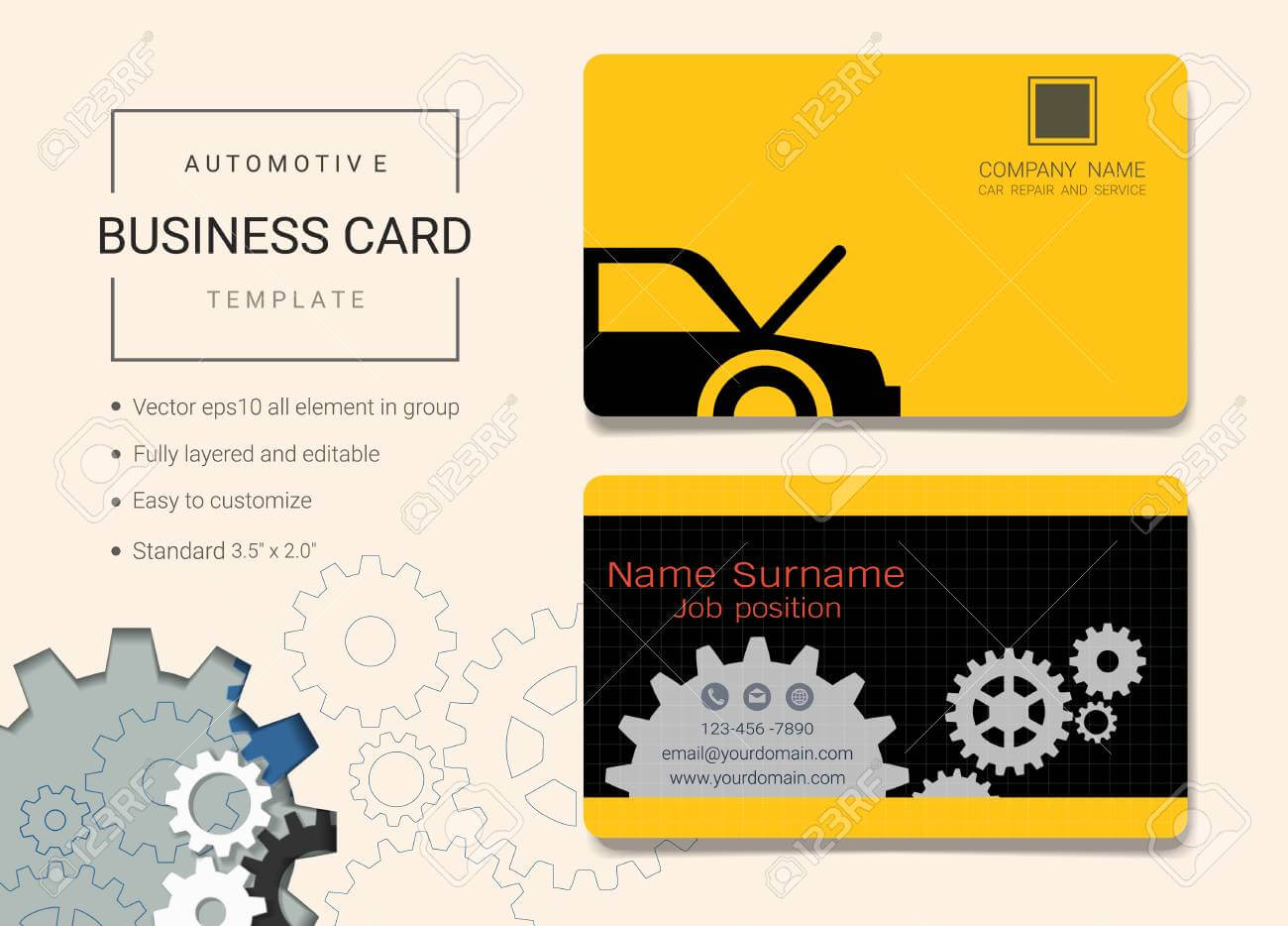 Automotive Business Card Or Name Card Template. Simple Style.. With Regard To Automotive Business Card Templates