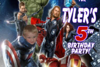 Avengers Personalized Photo Birthday Invitations 2 | Ajs intended for Avengers Birthday Card Template