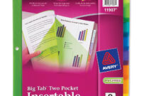 Avery Big Tab Insertable Two-Pocket Plastic Dividers, 8-Tab, Multicolor  (11907) throughout 8 Tab Divider Template Word
