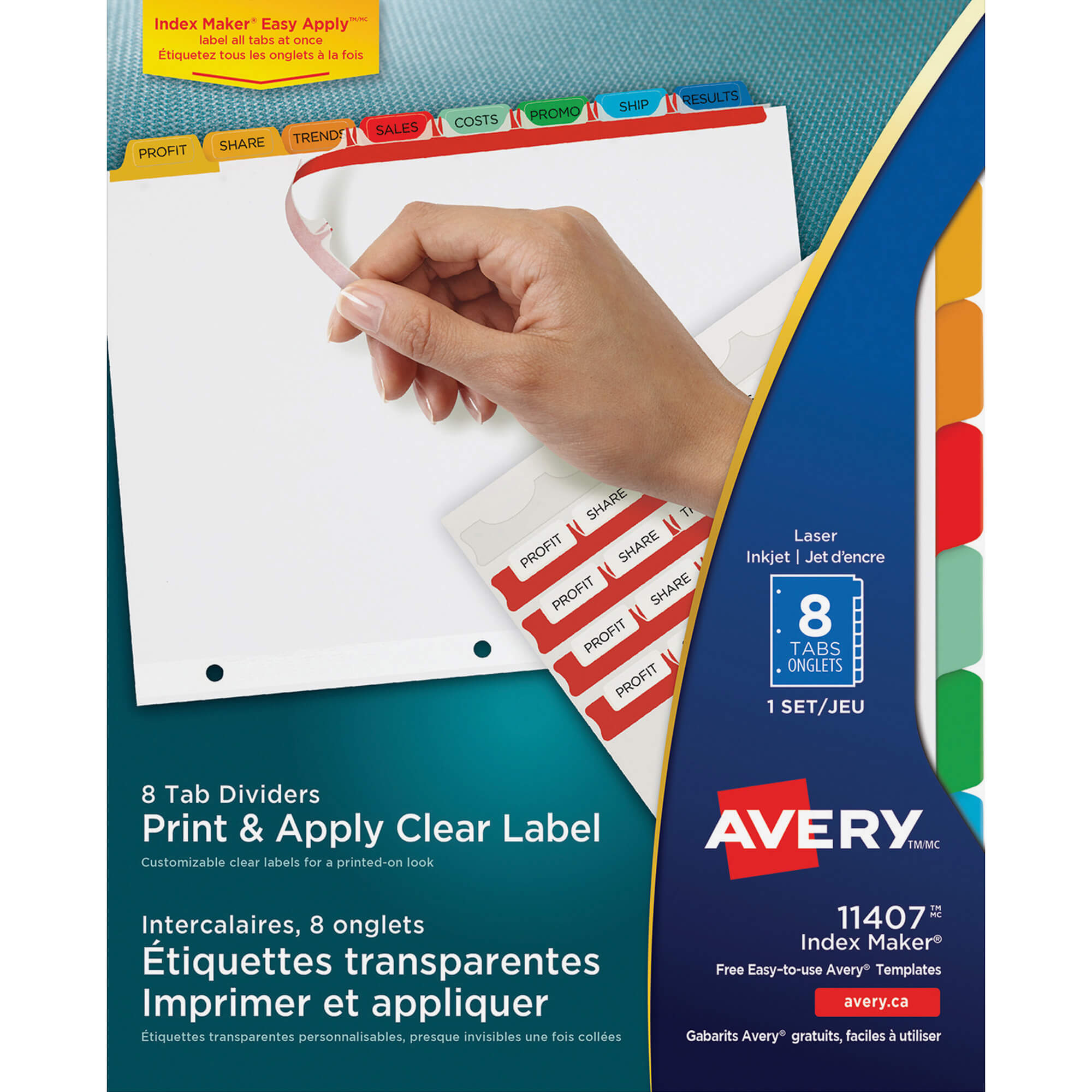 Avery® Index Maker Print & Apply Clear Label Dividers With Traditional  Color Tabs - 8 Tab(S)/set - Multicolor Divider - 8 / Set For 8 Tab Divider Template Word