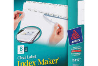 Avery® Print & Apply Clear Label Dividers, Index Maker(R with 8 Tab Divider Template Word