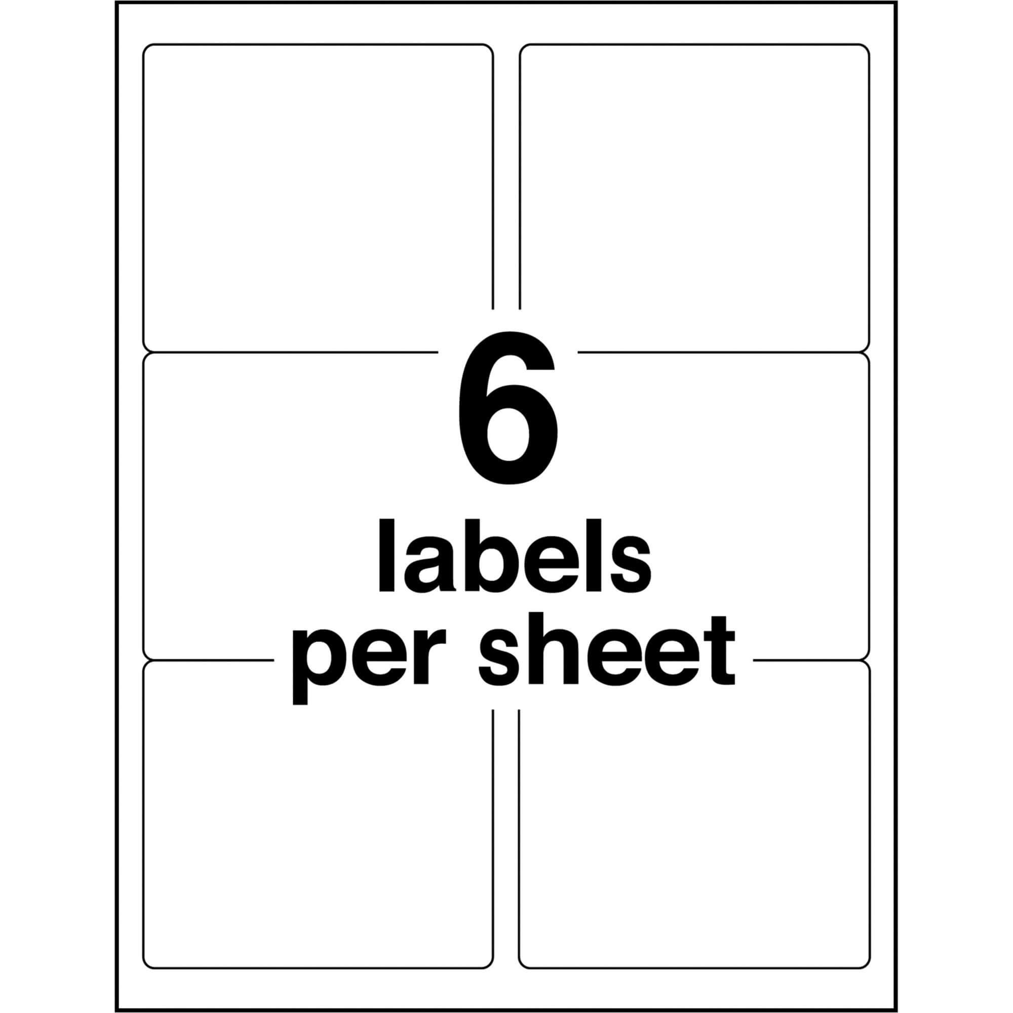 """Avery® Shipping Labels With Trueblock Technology - Permanent Adhesive - 3  21/64"""" Width X 4"""" Length - Rectangle - Laser, Inkjet - White - 6 / Sheet - regarding Labels 8 Per Sheet Template Word"""